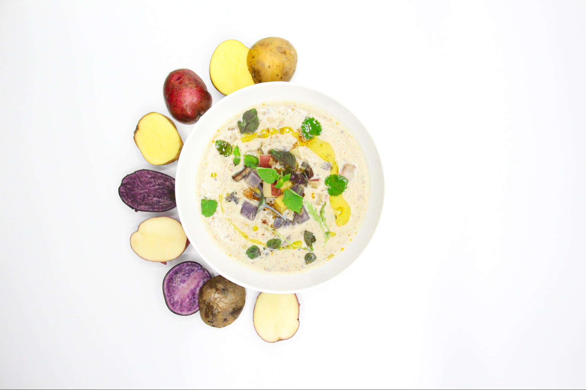 Dish 1:  Creamy potato soup, crispy potato crumble, micro greens, extra virgin olive oil
