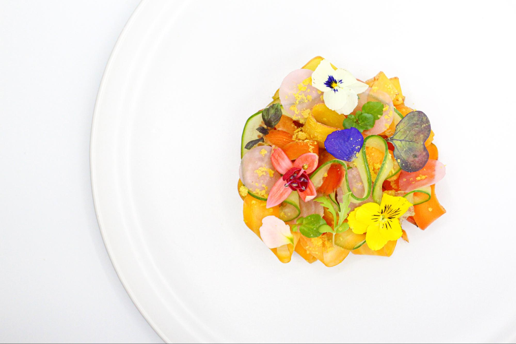 Dish 2: Carrot and cucumber ribbon salad, pickled carrots, spicy mustard & carrot puree, sour pickled radish rounds, micro greens, edible flowers